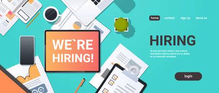 we are hiring recruitment concept top angle view desktop laptop smartphone paper document financial report office stuff horizontal copy space vector illustration 일러스트