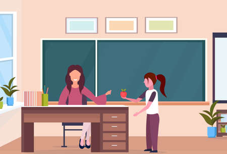 schoolgirl giving apple to woman teacher sitting at desk education concept modern school classroom interior chalk board female characters full length horizontal flat vector illustration