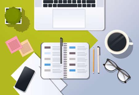 business strategy planning concept corporate time management top angle view desktop laptop smartphone organizer planner office stuff horizontal vector illustration Ilustração