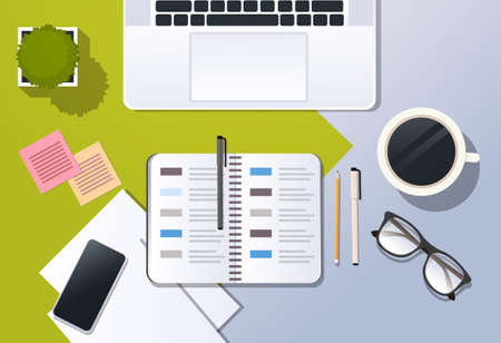 business strategy planning concept corporate time management top angle view desktop laptop smartphone organizer planner office stuff horizontal vector illustration Illustration