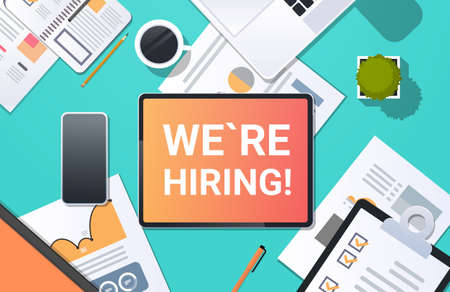 we are hiring recruitment concept top angle view desktop laptop smartphone paper document financial report office stuff horizontal vector illustration