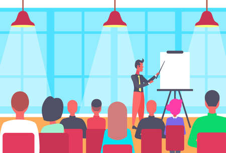 businessman pointing flip chart conference meeting presentation concept business man team leader training courses horizontal flat vector illustration Ilustração