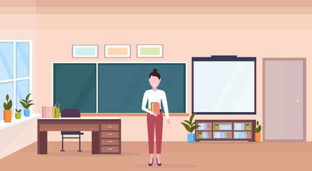 woman teacher standing in modern school classroom interior chalk board desk female cartoon character full length horizontal banner flat vector illustration