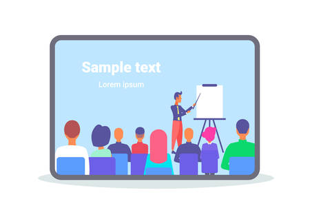 businessman pointing flip chart conference meeting presentation concept business man team leader training courses horizontal flat copy space vector illustration