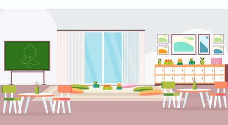 preschool modern kindergarten children classroom with chalkboard desks chairs and playroom decoration furniture empty no people kid room interior flat horizontal vector illustration  イラスト・ベクター素材