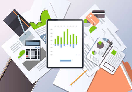 financial report investment business finance concept top angle view desktop tablet screen paper documents office stuff horizontal vector illustration Illustration