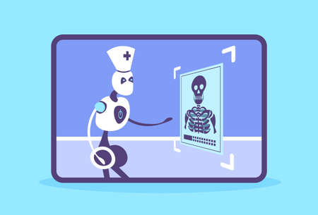 humanoid robot doctor examining x-ray photograph cyborg recognizing patient radiography artificial intelligence medicine healthcare concept horizontal flat vector illustration Illustration