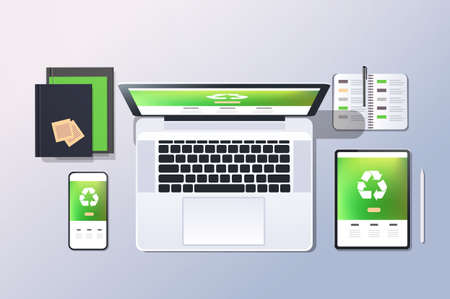 mobile computer recycle application recycling concept top angle view desktop laptop smartphone tablet screen organizer office stuff horizontal vector illustration Ilustrace