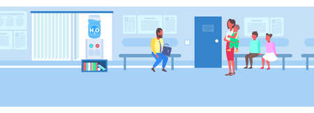 patients waiting line queue in clinic corridor modern waiting room consultation medical diagnosis concept hospital hall interior male female characters full length flat horizontal vector illustration