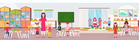 women teachers teaching mix race boys and girls preschool modern kindergarten children classroom with chalkboard desks chairs playground kid room interior full length flat horizontal vector illustration Illustration