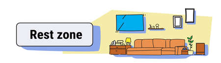living room rest zone interior modern apartment furniture empty no people house colorful sketch doodle horizontal banner vector illustration