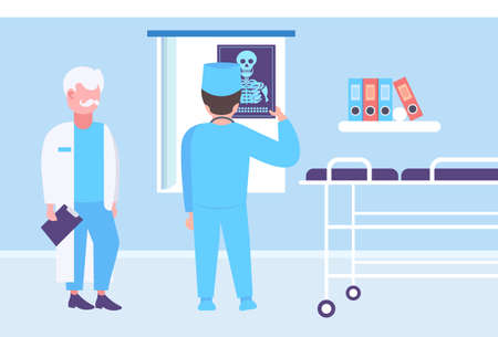 doctor and surgeon examining x-ray hospital workers looking patient radiography male cartoon characters full length clinic interior medicine and healthcare concept horizontal vector illustration