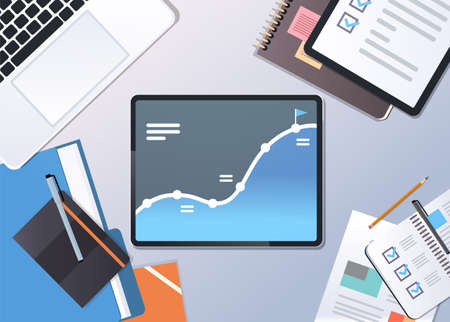 analysis financial graph finance business chart successful strategy concept top angle view desktop laptop tablet screen office stuff horizontal vector illustration