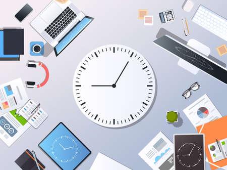 Time management deadline business timing concept top angle view desktop laptop smartphone tablet screen clock paper documents office stuff horizontal vector illustration