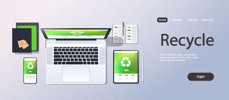 mobile computer recycle application recycling concept top angle view desktop laptop smartphone tablet screen organizer office stuff horizontal copy space vector illustration