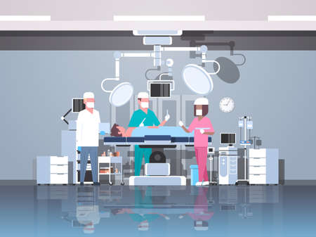 mix race surgeons team surrounding patient lying on operation table during surgery medical workers in operation room modern hospital clinic interior horizontal full length vector illustration