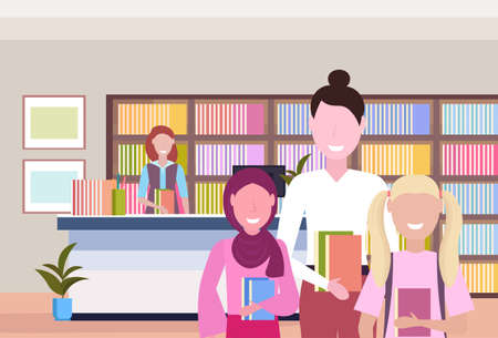 people borrowing books from librarian modern library bookstore interior bookcase with books reading education knowledge concept flat portrait horizontal vector illustration