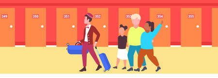 mix race tourists family with african american bellboy carrying luggage to guest room hospitality staff service concept modern hotel corridor interior full length horizontal vector illustration