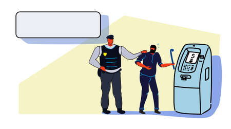 police taking security protection policeman arrested masked thief stealing sensitive data and money from ATM machine robber arrest concept sketch flow style horizontal full length vector illustration