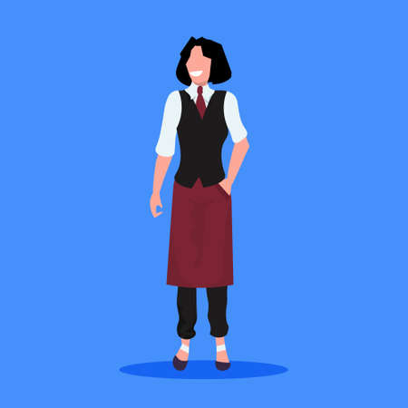 professional woman waitress in uniform standing pose restaurant staff professional occupation concept female cartoon character full length blue background flat vector illustration