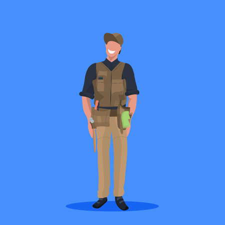 male master or repairman mechanic repair service worker professional occupation concept happy man in uniform cartoon character full length flat blue background vector illustration Ilustrace