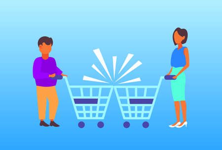 couple man woman customers with crashed shopping trolley carts big grocery shop supermarket equipment buyers collision accident concept full length horizontal flat vector illustration