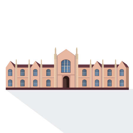 national university or college building exterior view graduation education concept white background flat vector illustration Illustration