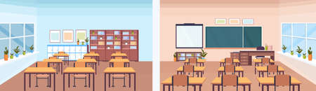 back and front view modern school classroom interior chalk board teacher desk empty no people horizontal banner flat vector illustration Ilustração