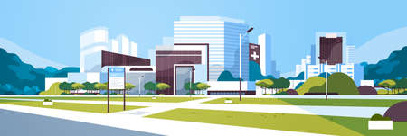 big hospital building modern medical clinic exterior with yard information board trees cityscape background flat horizontal banner vector illustration