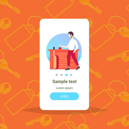 businessman tourist with suitcase ringing in bell at reception counter man pressing call button to attract attention hotel service concept vertical copy space full length vector illustration 版權商用圖片 - 124765939