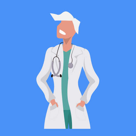 female doctor with stethoscope woman medical clinic worker in uniform professional occupation concept cartoon character portrait flat blue background vector illustration