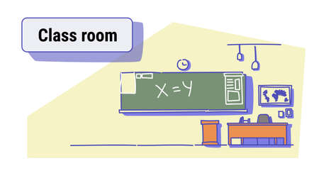 class room interior empty school classroom with chalkboard and desk colorful sketch doodle horizontal vector illustration
