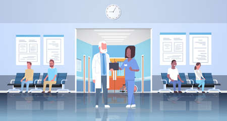 doctor and nurse discussing in hospital waiting hall corridor over mix race patients consultation and diagnosis healthcare concept modern clinic interior full length horizontal flat vector illustration Illustration