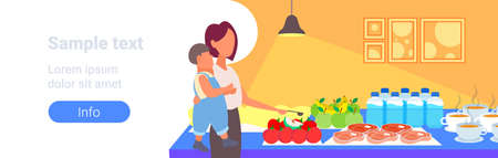 mother with little son tourists choosing dishes from table catering and tourism concept hotel restaurant interior portrait horizontal copy space vector illustration