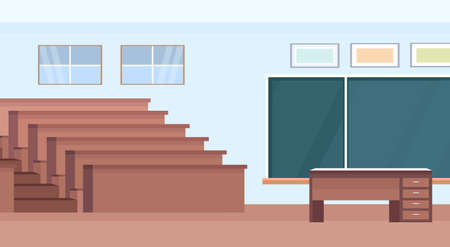 empty auditorium lecture hall theater room interior modern university classroom with wooden rows of seats and chalk board flat horizontal vector illustration