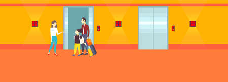 manager receptionist welcoming father daughter arriving tourists standing near elevator doors service staff concept modern hotel interior horizontal full length flat vector illustration