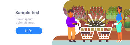 couple man woman customers with crashed shopping trolley carts big grocery shop supermarket equipment buyers collision accident concept full length horizontal banner copy space vector illustration