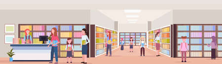 mix race students borrowing books from librarian modern library bookstore interior reading education knowledge concept flat full length horizontal banner vector illustration
