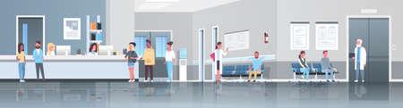 mix wyścig pacjenci stojąca kolejka kolejka w szpitalu recepcja poczekalnia sala lekarze konsultacja koncepcja opieki zdrowotnej klinika medyczna wnętrze pełnej długości poziomy baner płaski