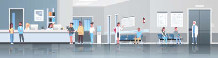 mix race patients standing line queue at hospital reception desk waiting hall doctors consultation healthcare concept medical clinic interior full length horizontal banner flat Illustration