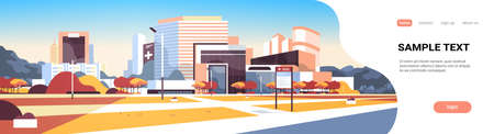 big hospital building modern medical clinic exterior with yard information board trees cityscape background outdoors in autumn flat horizontal banner copy space vector illustration Illustration