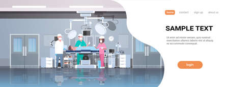 mix race surgeons team surrounding patient lying on operation table during surgery medical workers in operation room modern hospital clinic interior horizontal full length copy space vector illustration Illustration