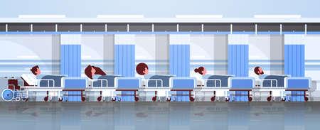 Pacientes acostados en la cama terapia intensiva sala concepto de atención médica hospital clínica habitación interior personaje de dibujos animados masculino femenino banner horizontal plana ilustración vectorial Ilustración de vector