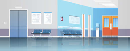 hospital corridor waiting hall with information board chairs elevator and doors empty no people clinic interior flat horizontal banner vector illustration