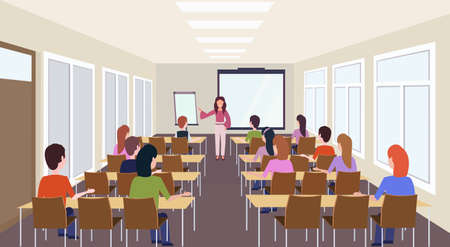 Grupo de estudiantes escuchando presentación de capacitación de maestras reunión moderna sala de conferencias interior conferencia sala de seminarios concepto de educación vista trasera ilustración vectorial horizontal Ilustración de vector