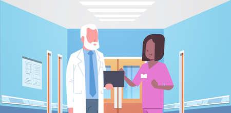 senior doctor and nurse medical team discussing in hospital corridor healthcare concept modern clinic interior portrait horizontal flat vector illustration Illustration