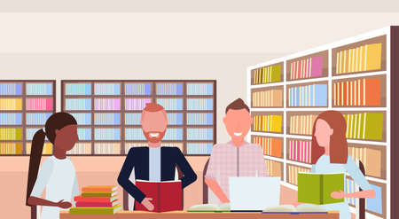 mix race students group reading books preparing to exam sitting workplace desks study area modern library interior education concept flat horizontal portrait vector illustration