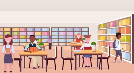 mix race pupils reading books sitting workplace desks study area bookshelves modern library interior education knowledge concept flat horizontal full length vector illustration Ilustrace
