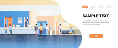 mix race patients standing line queue at hospital reception desk waiting hall doctors consultation healthcare concept medical clinic interior full length horizontal flat copy space vector illustration Illustration