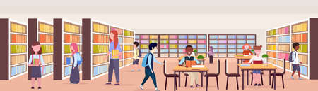mix race pupils choosing and reading books workplace desks study area bookshelves modern library interior education knowledge concept flat horizontal banner full length vector illustration Ilustrace